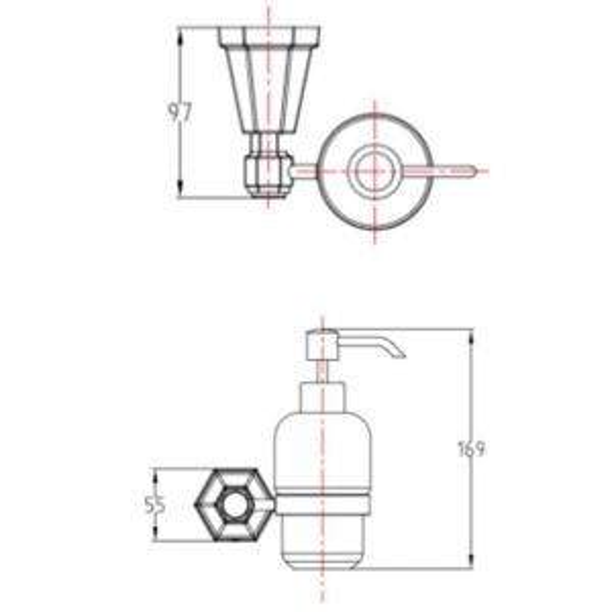 RAK Washington Ceramic Soap Dispenser Measurements