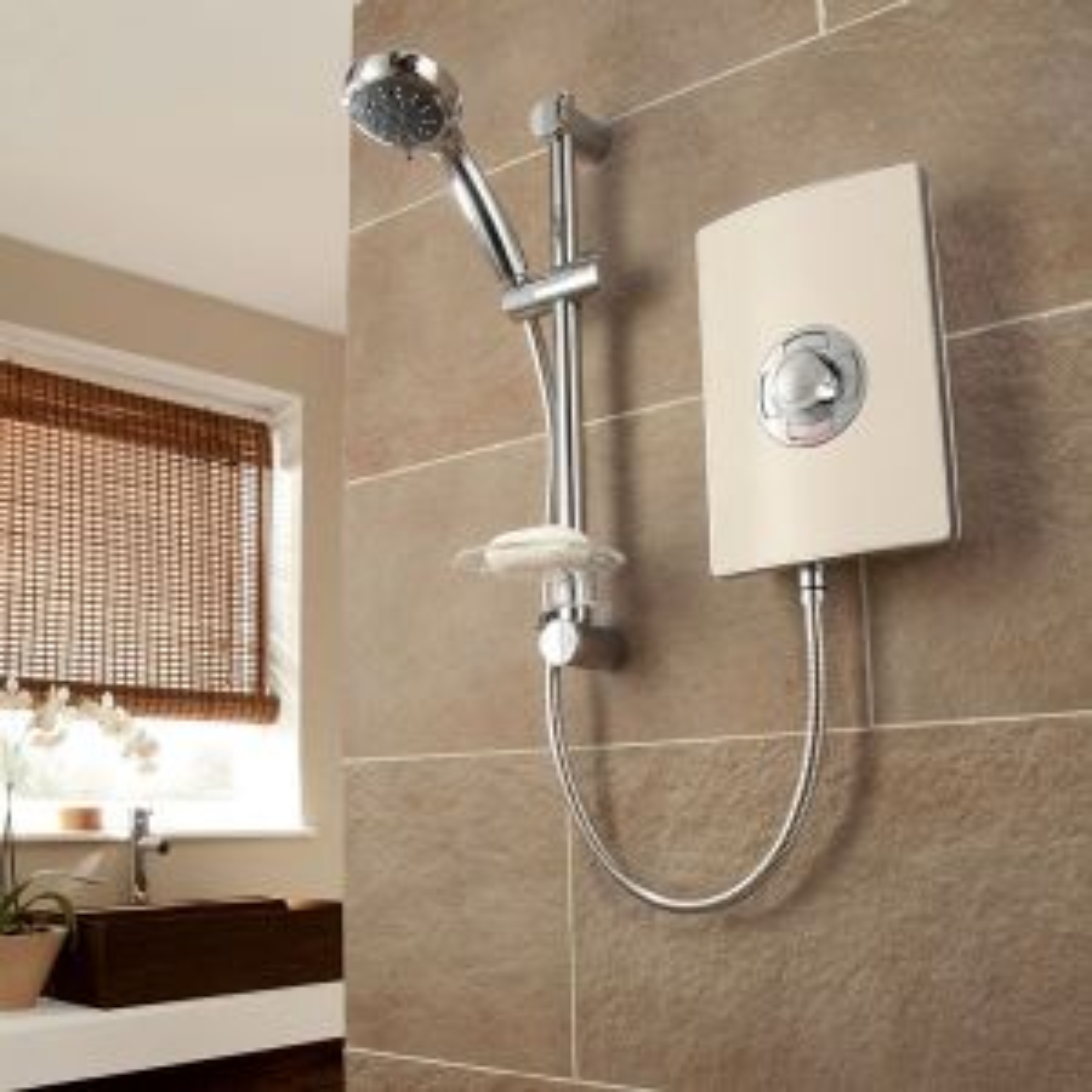 Triton Aspirante Riviera Sand Electric Shower in Situation