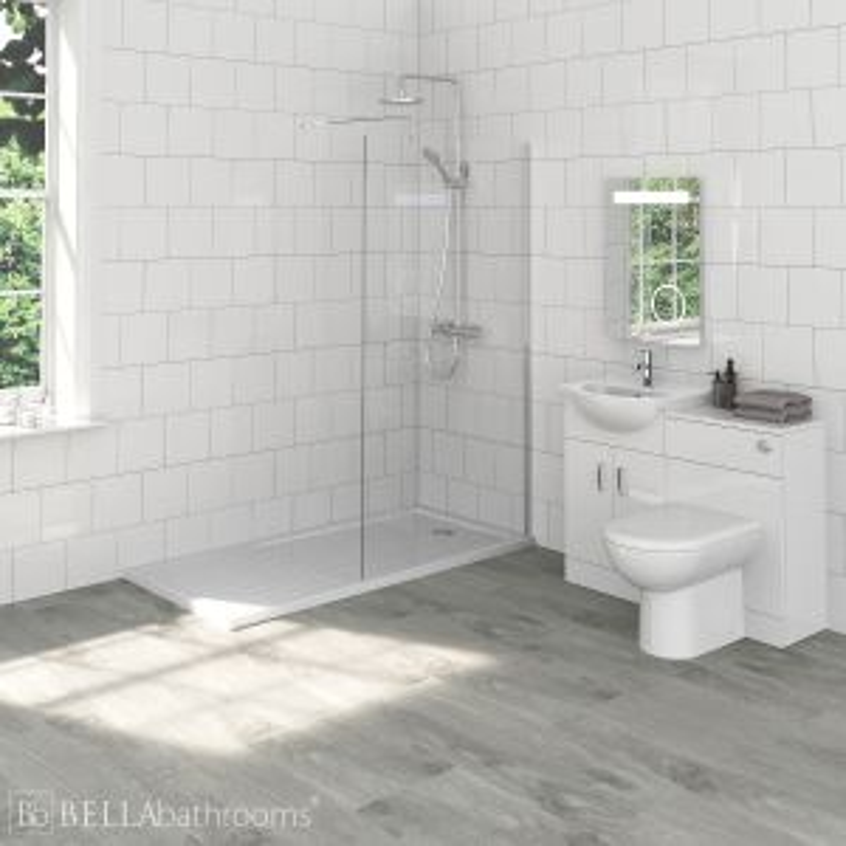 Saturn Bathroom Furniture Pack with Premier Wet Room Shower Enclosure