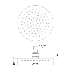 Nuie Small Round LED Fixed Shower Head Drawing