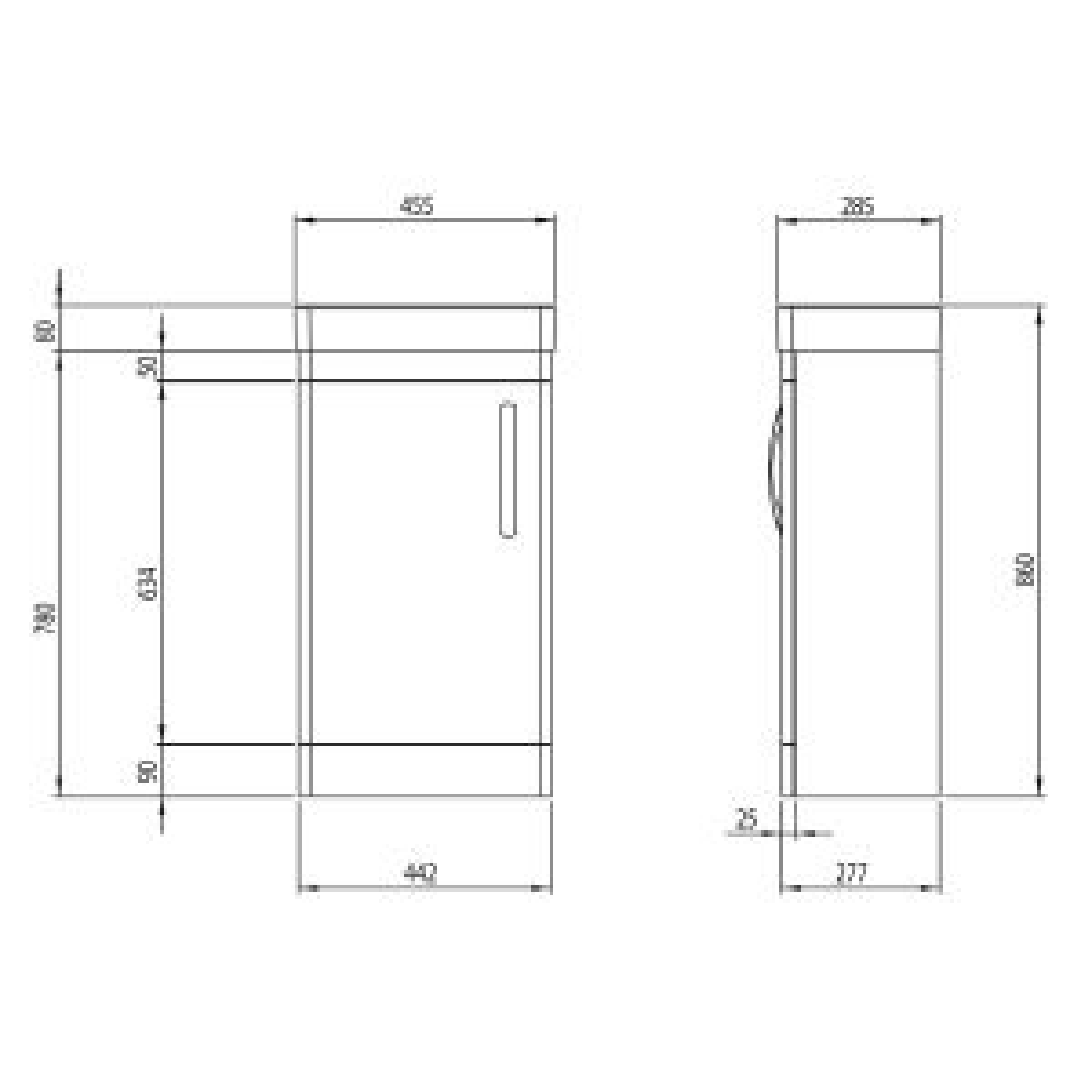 Tavistock Compass Gloss White Cloakroom Vanity Unit 450mm Dimensions