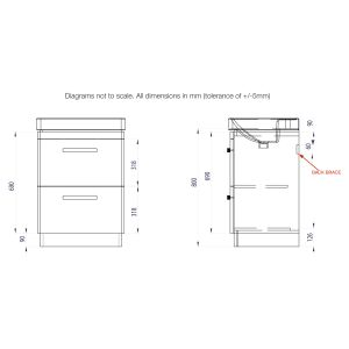 Tavistock Compass Gloss White Drawer Vanity Unit 600mm Dimensions