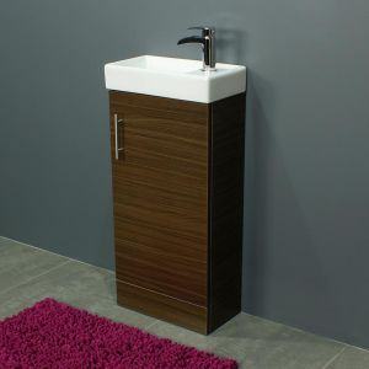 Cassellie 400 Series Walnut Single Door Vanity Unit