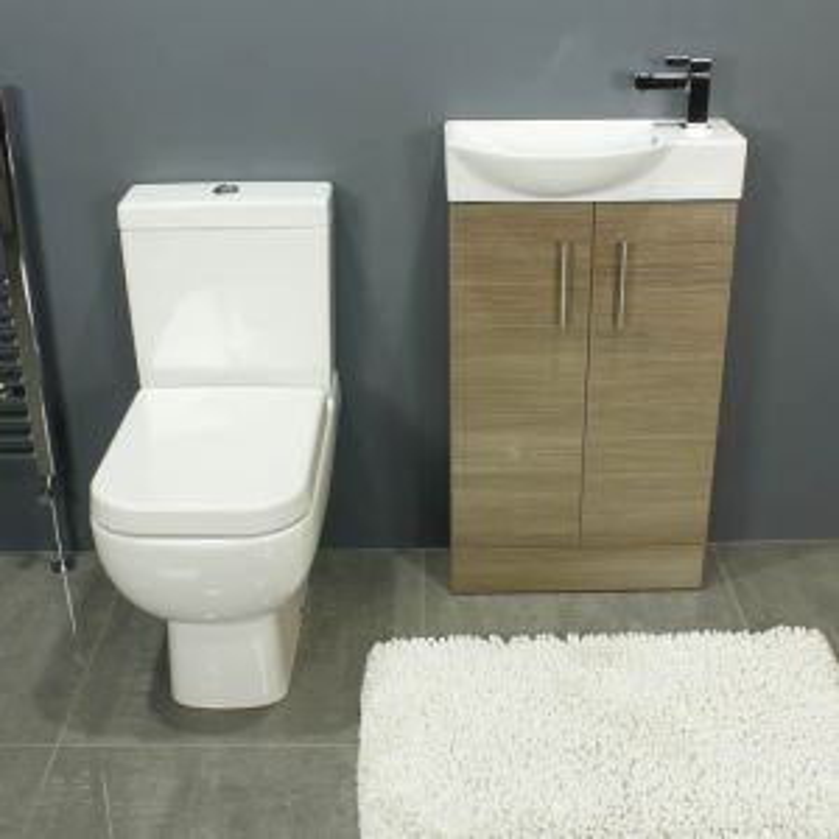 RAK Series 600 Close Coupled Toilet and 500 Series Mini Medium Oak Double Door Vanity Unit Front