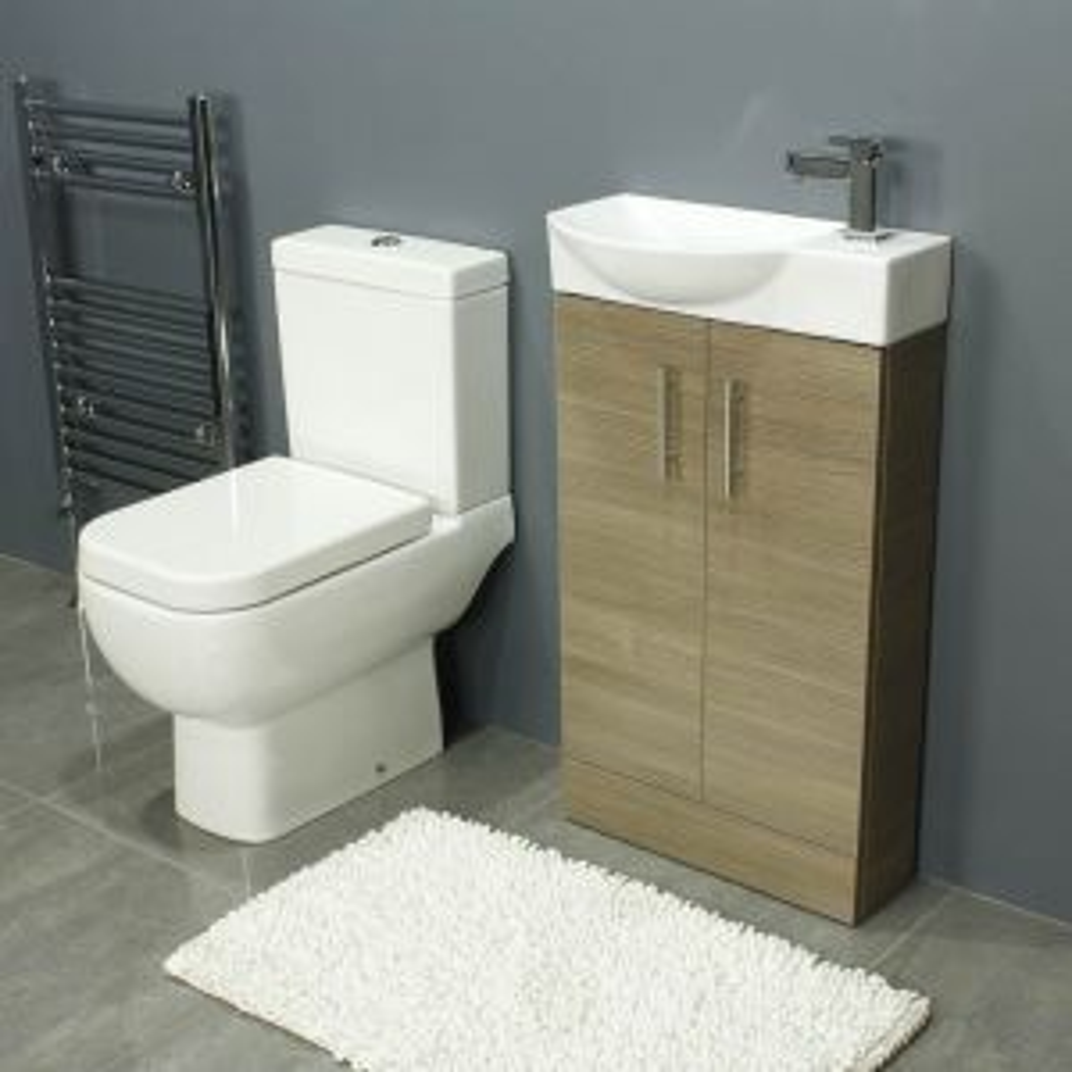 RAK Series 600 Close Coupled Toilet and 500 Series Mini Medium Oak Double Door Vanity Unit