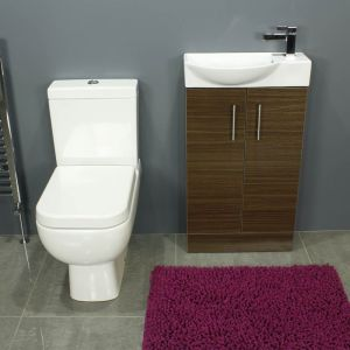 RAK Series 600 Close Coupled Toilet and 500 Series Walnut Mini Double Door Vanity Unit Front