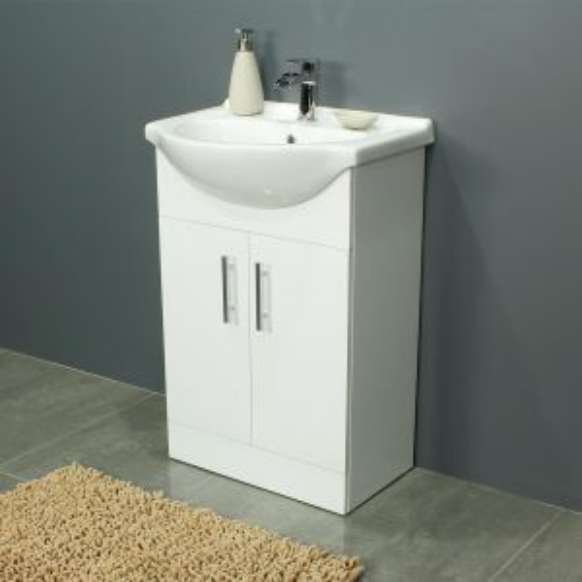 Cassellie 550 Series Gloss White Vanity Unit