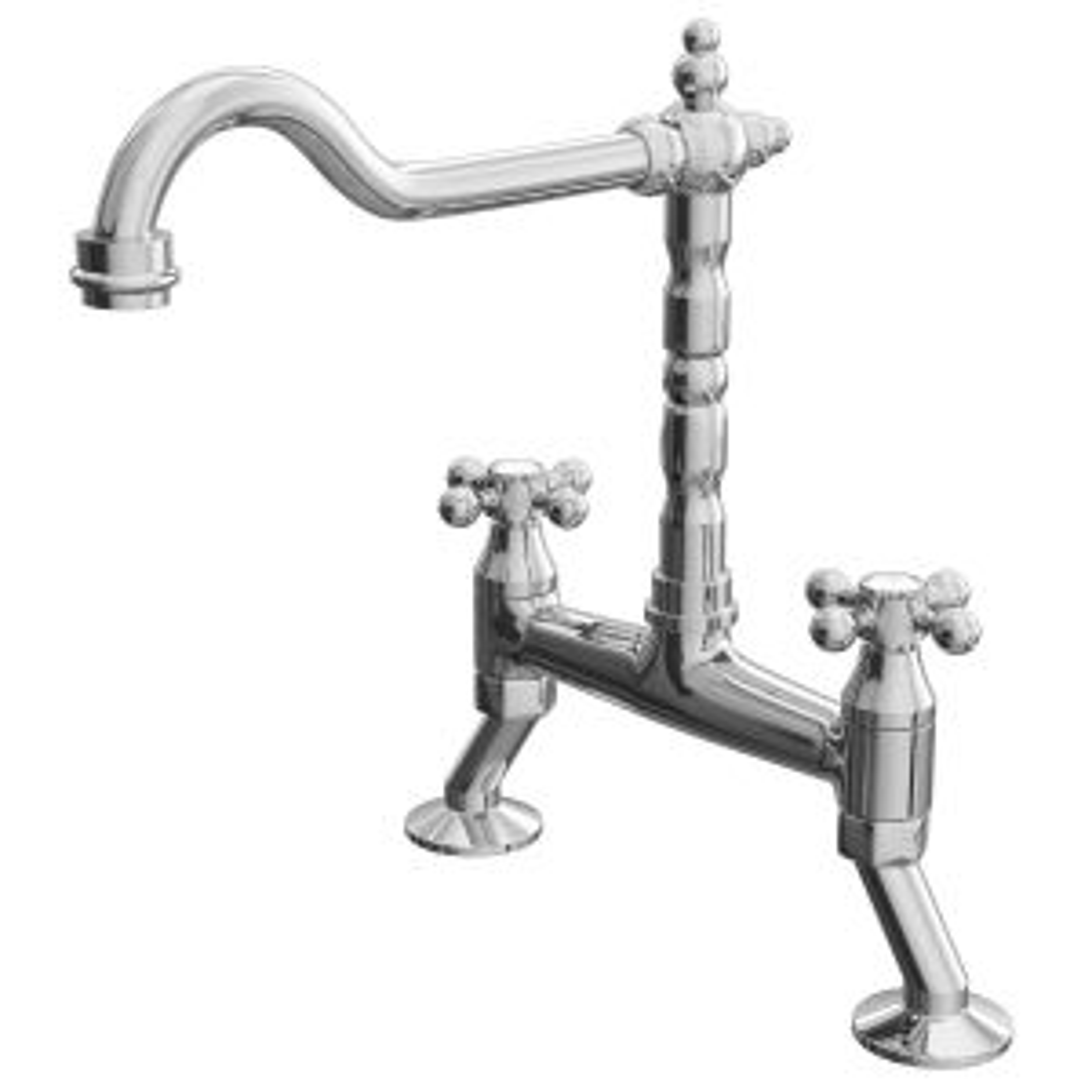 Cassellie Cranked Classic Bridge Kitchen Sink Mixer Tap