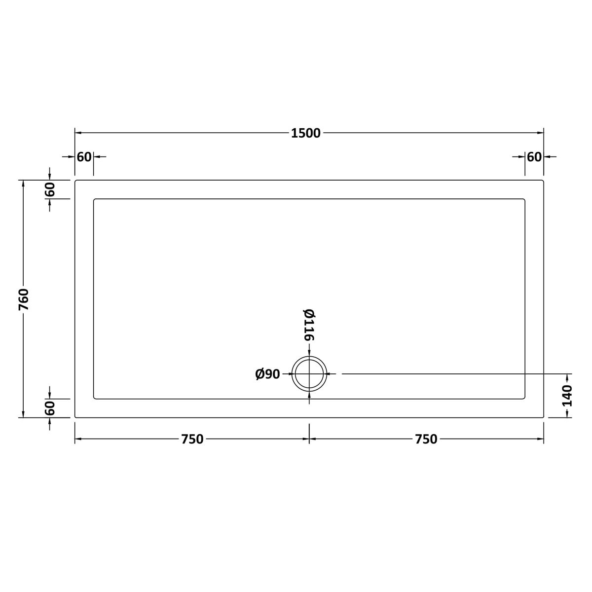 1500 x 760 Shower Tray Slate Grey Rectangular Low Profile by Pearlstone Dimensions