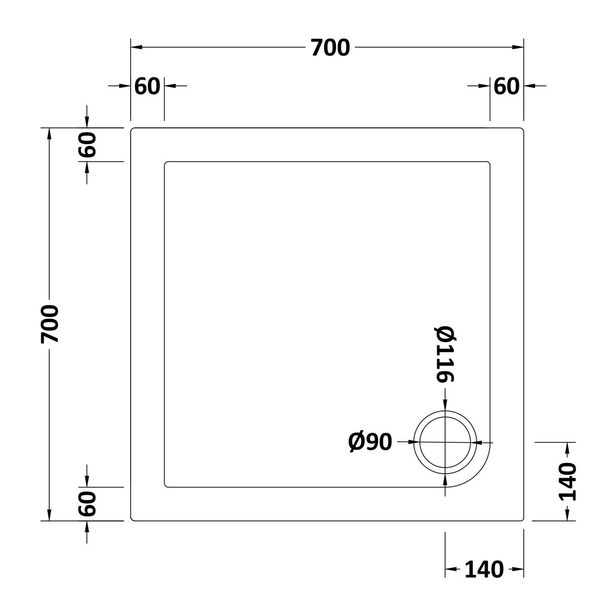 700 x 700 Shower Tray Square Low Profile by Pearlstone Dimensions