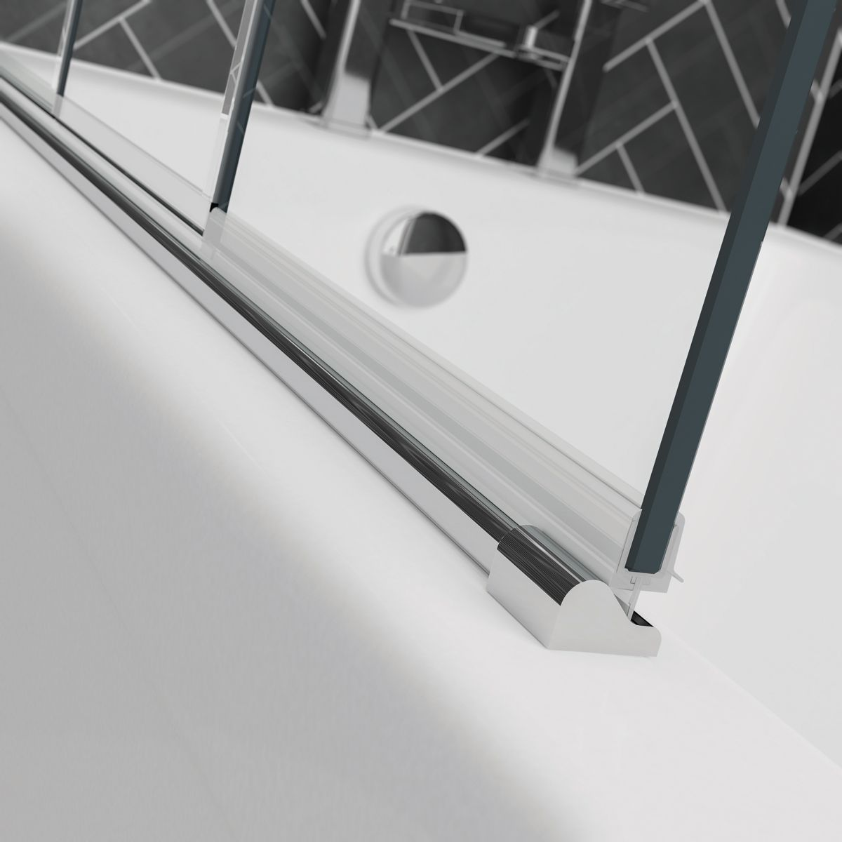 April Prestige Frameless 4 Fold Bath Screen Seal