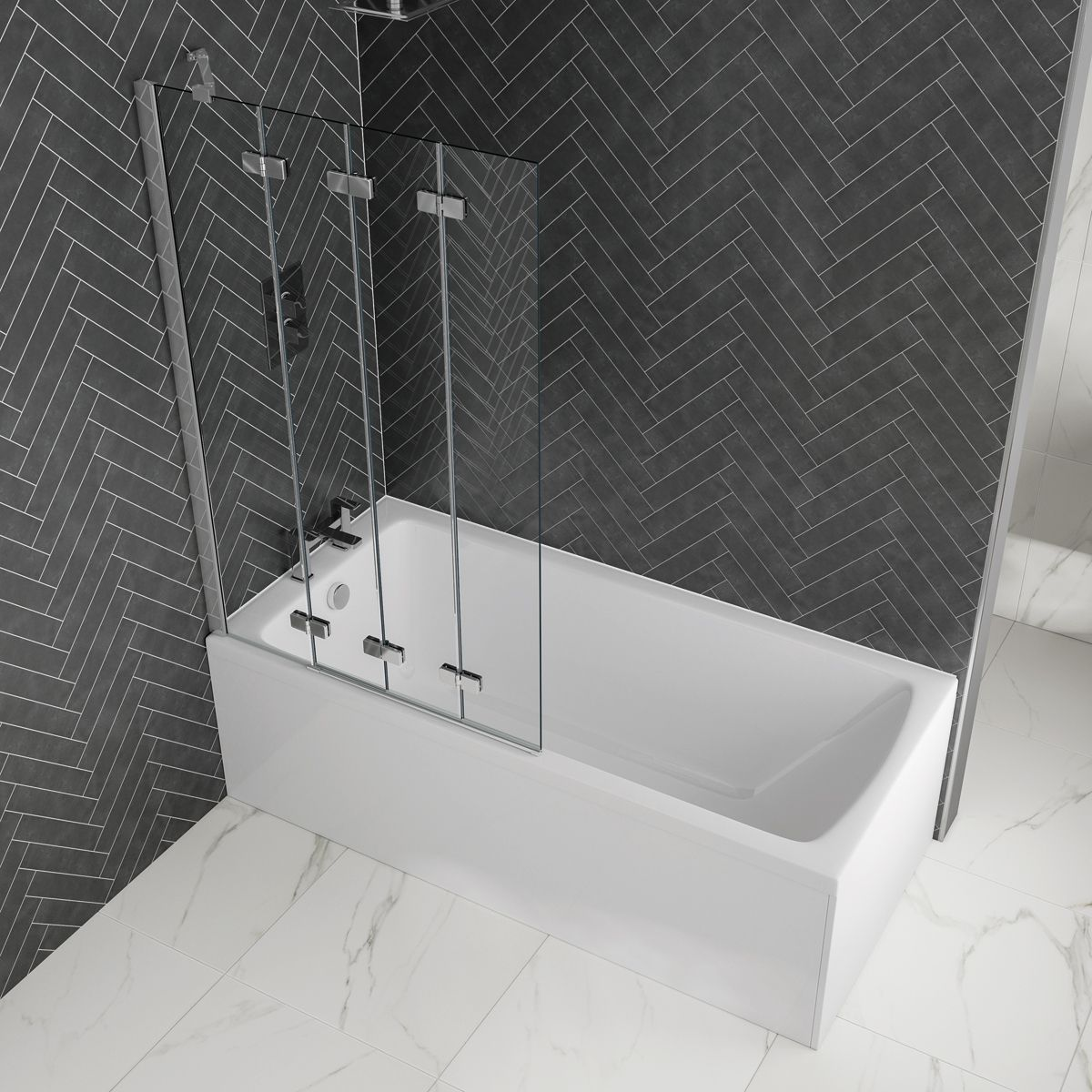 April / Nuie Shower Bath with Optional Front Panel and 4 Fold Bath Screen