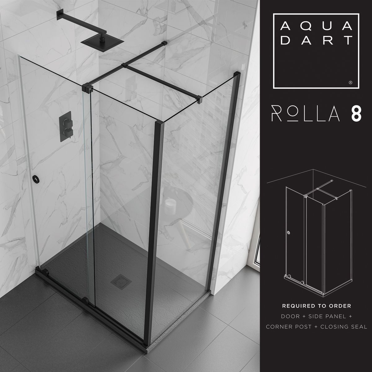 Aquadart Rolla 8 Sliding Shower Enclosure with Corner Post Configuration