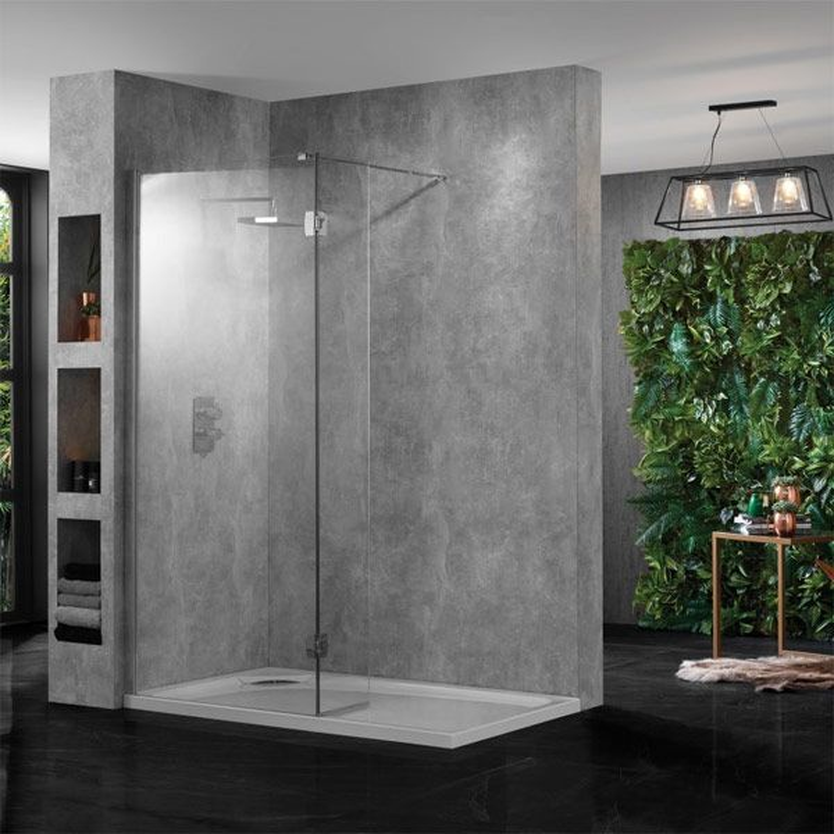 Aquadart Wet Room 10 Polished Silver Wetroom Shower Enclosure