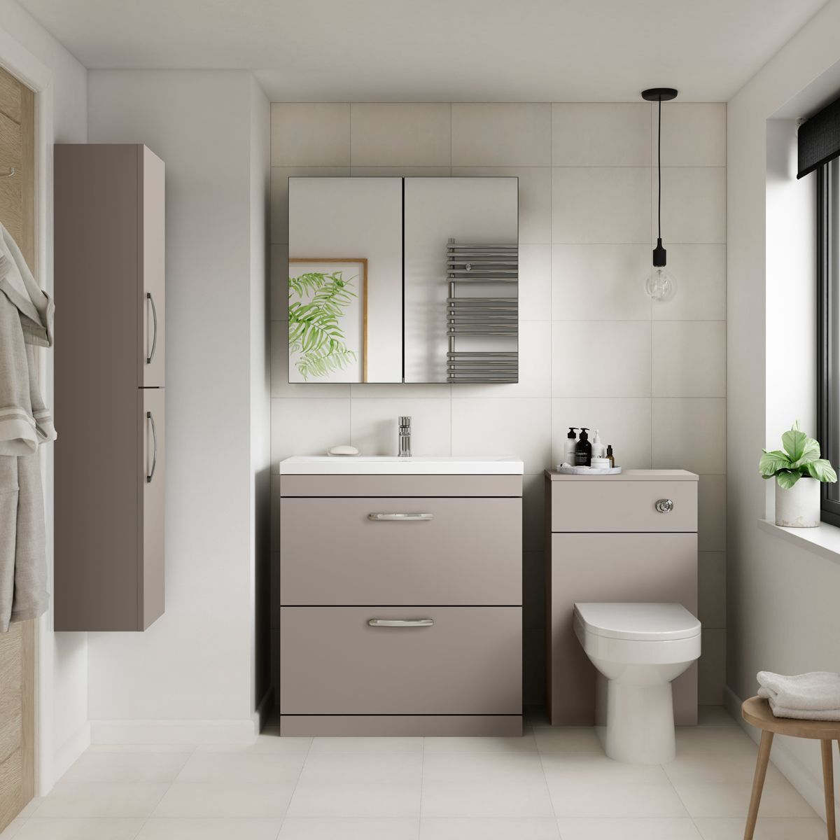 Premier Athena Stone Grey 2 Drawer Floor Standing Vanity Unit 800mm Lifestyle