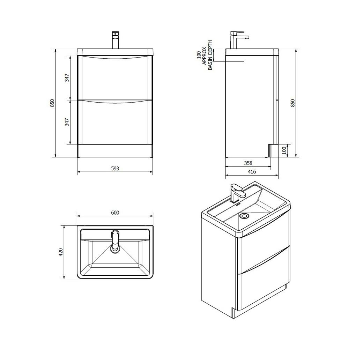 Bali Matt Black Floor Standing Vanity Unit 600mm  Dimensions