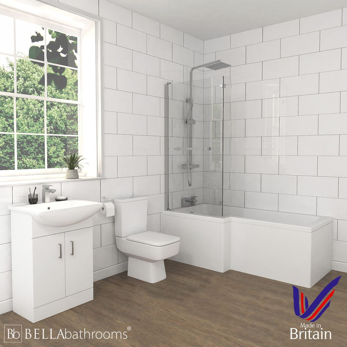 Bliss White Vanity Unit Left Handed L Shaped Shower Bath Suite