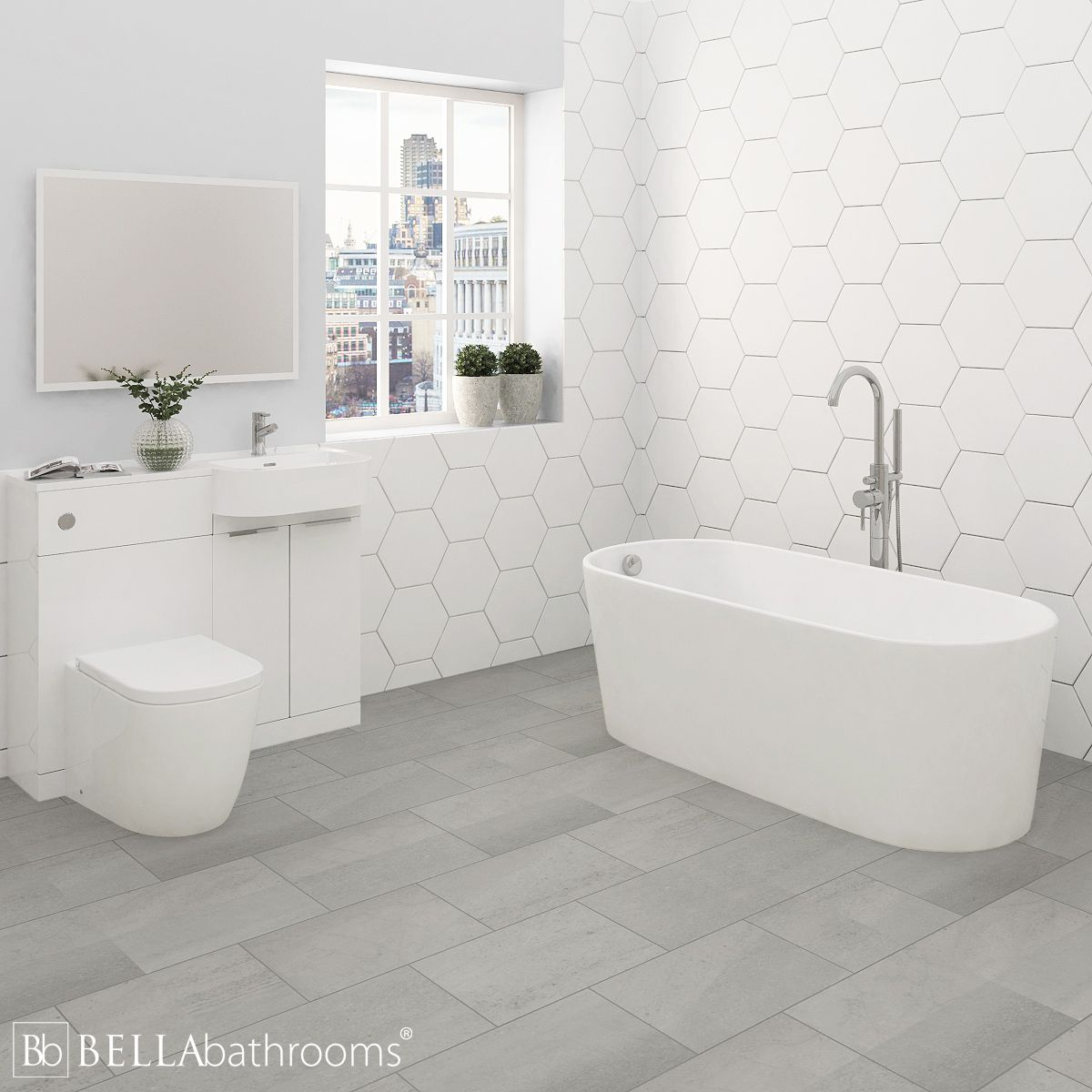 Elation Combination P Shape White Furniture Suite with Brearton Freestanding Bath