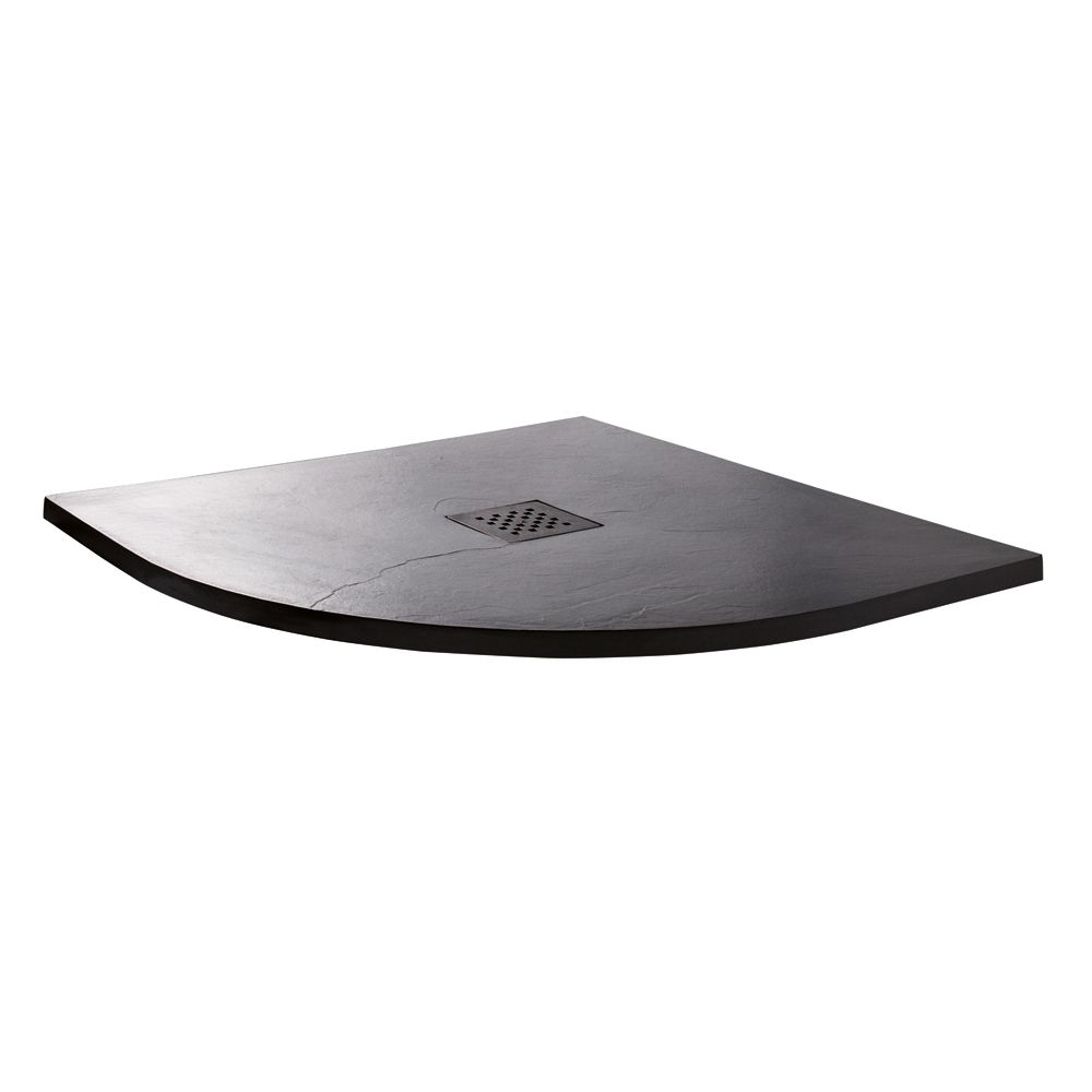 Cassellie Cass Stone Anthracite Slate Effect Quadrant Shower Tray 900 x 900mm