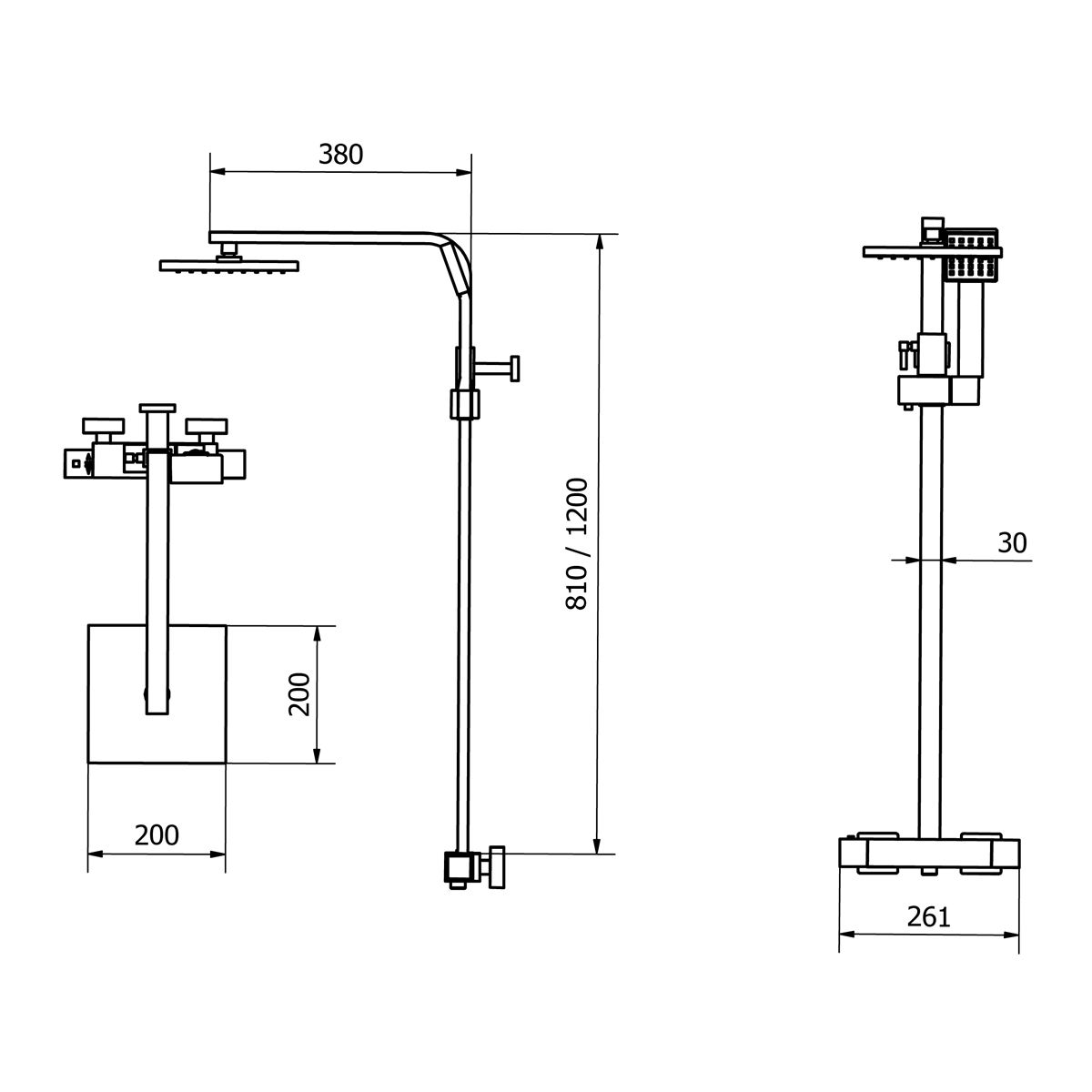 Cassellie Elite Thermostatic Mixer Shower Kit Drawing