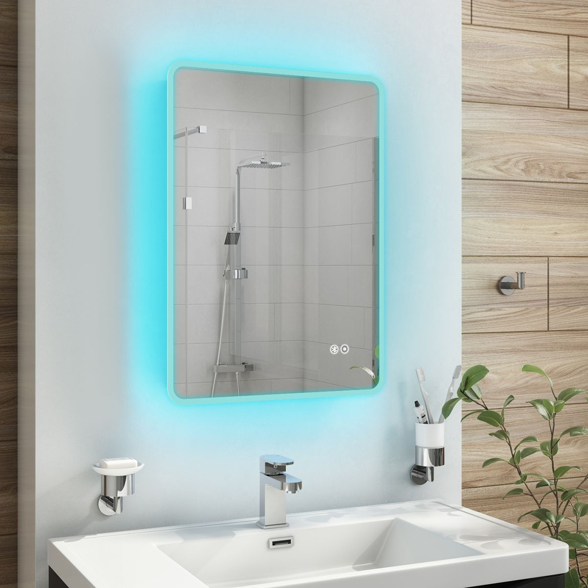 Cassellie Tri Colour Led Bluetooth Bathroom Mirror