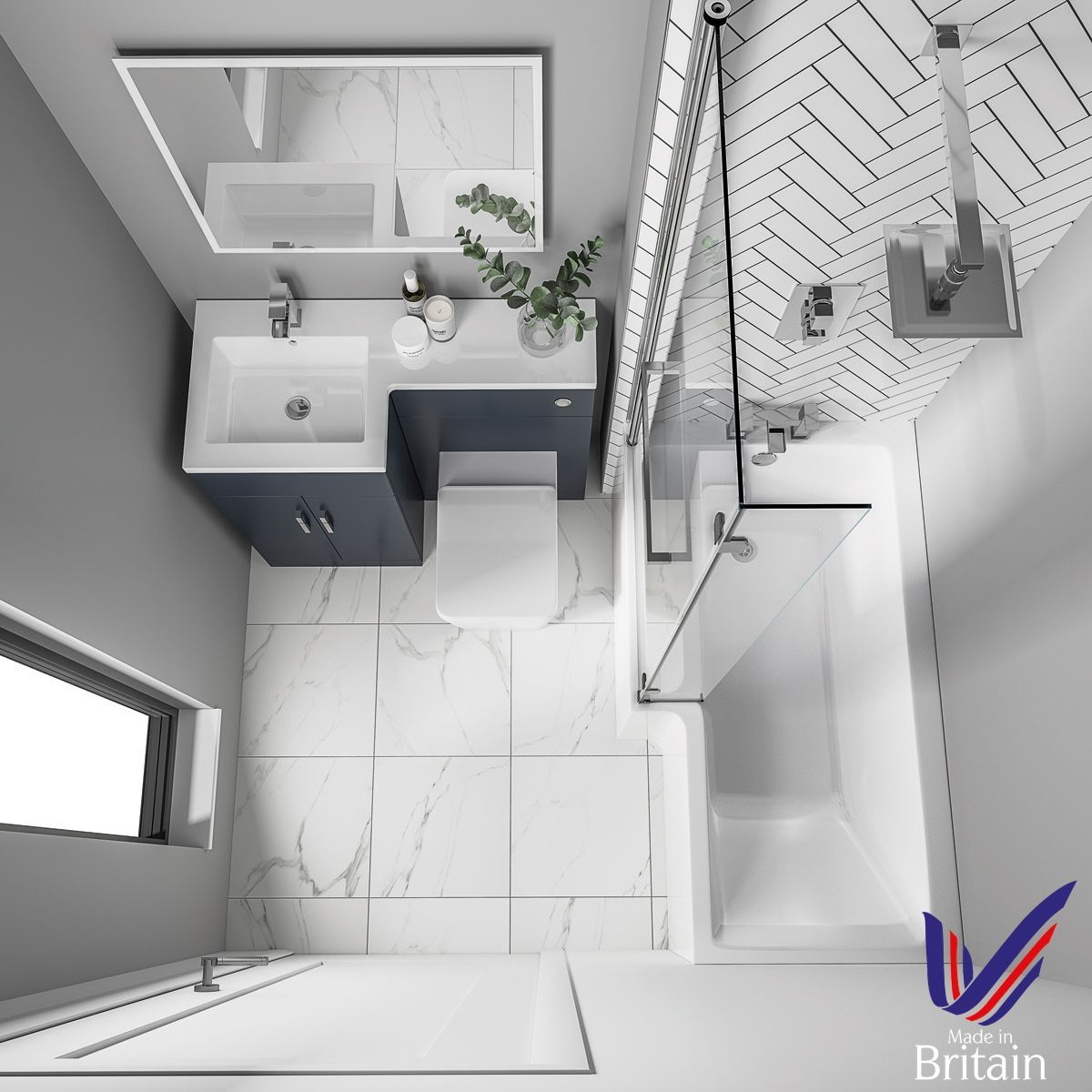 Elation Combination L Shape White Furniture Pack 1070mm Overhead