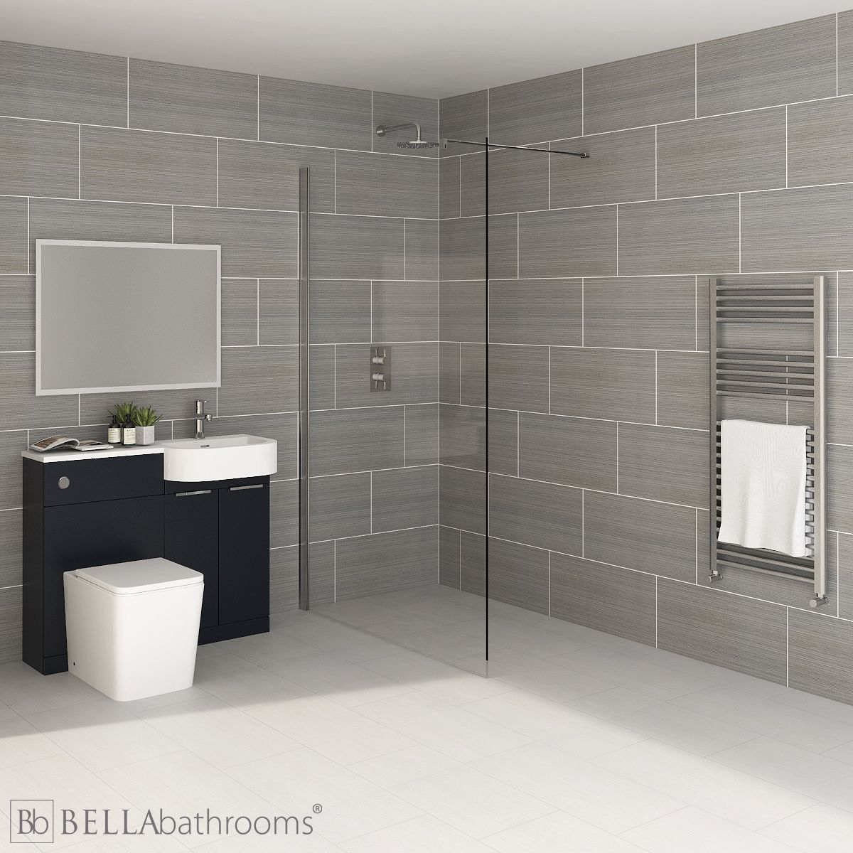 Elation Combination P Shape Indigo Matt Furniture Suite with April Destini Wet Room Shower Enclosure with Brearton Toilet