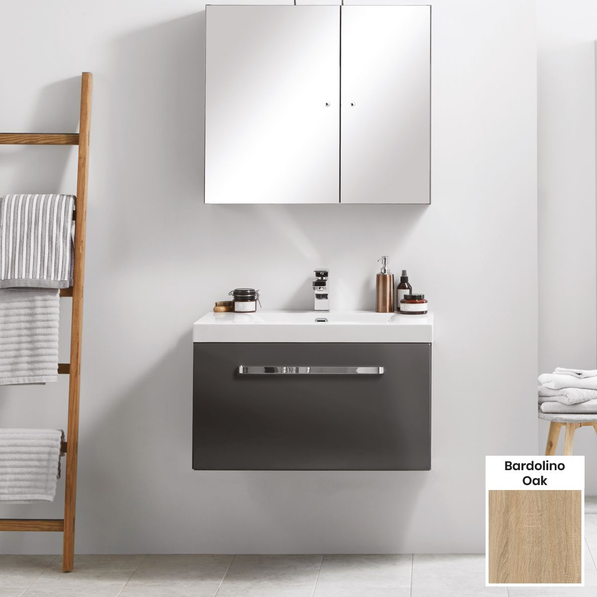 Elation Eko Bardolino Oak Vanity Unit with Groove Drawer 750mm