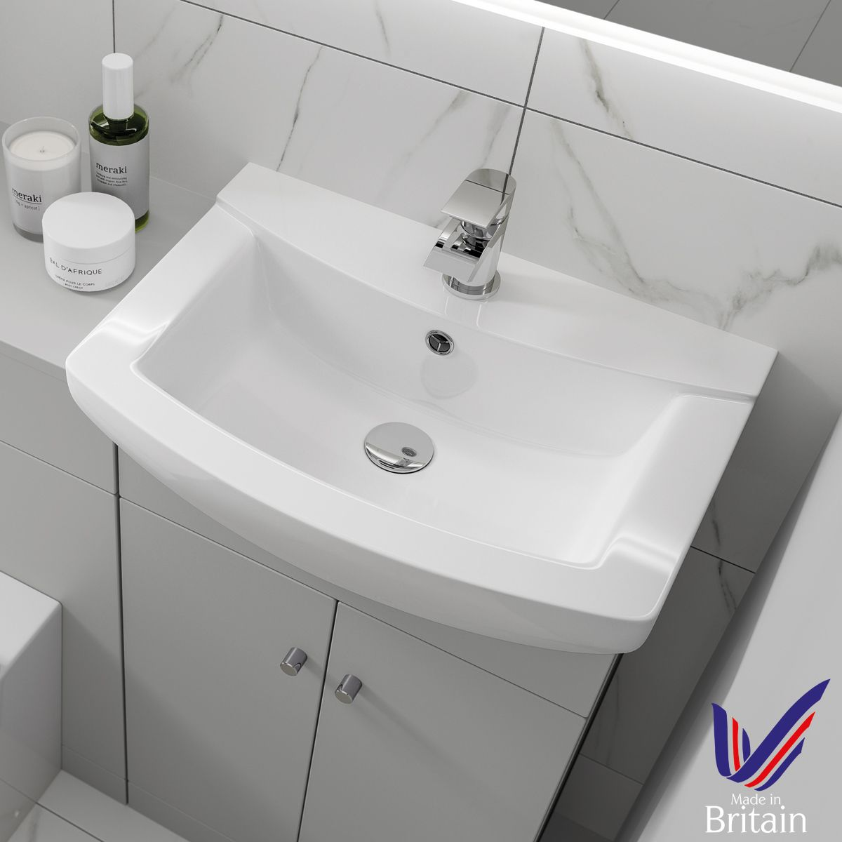 Ikoma White Gloss Vanity Unit with Basin 650mm Basin