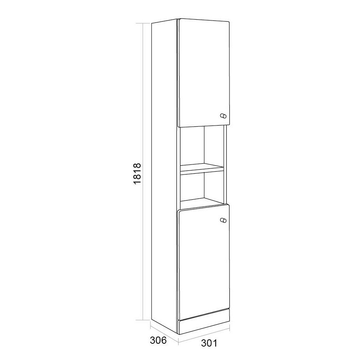 Ikoma White Gloss Tall Unit Dimensions