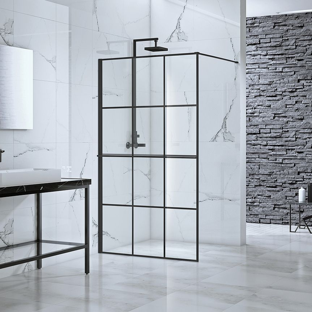 Frontline Aquaglass Velar+ Black Crittal Framed Walk In Shower Enclosure with Towel Rail