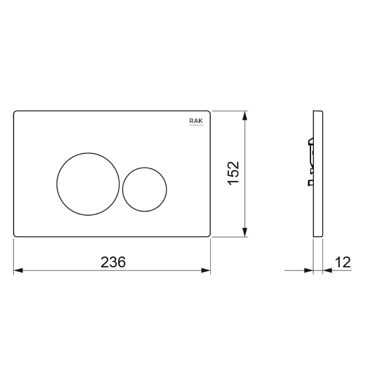 RAK Ecofix White Flush Plate with Round Push Buttons Measurements