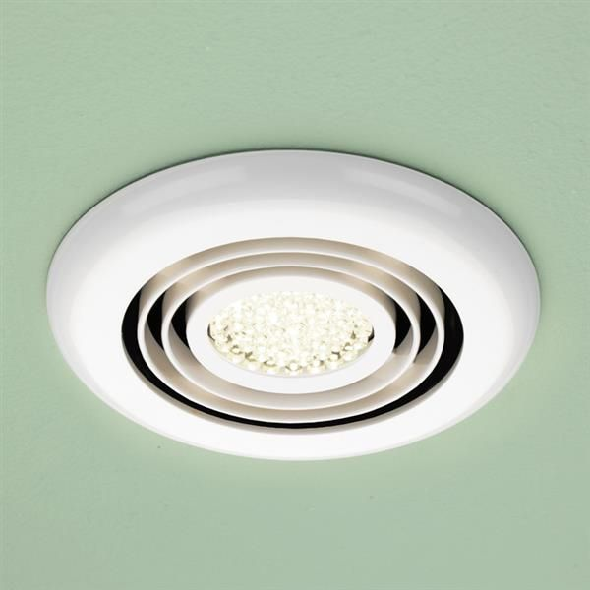 HiB Turbo Warm White LED Inline Bathroom Extractor Fan in White