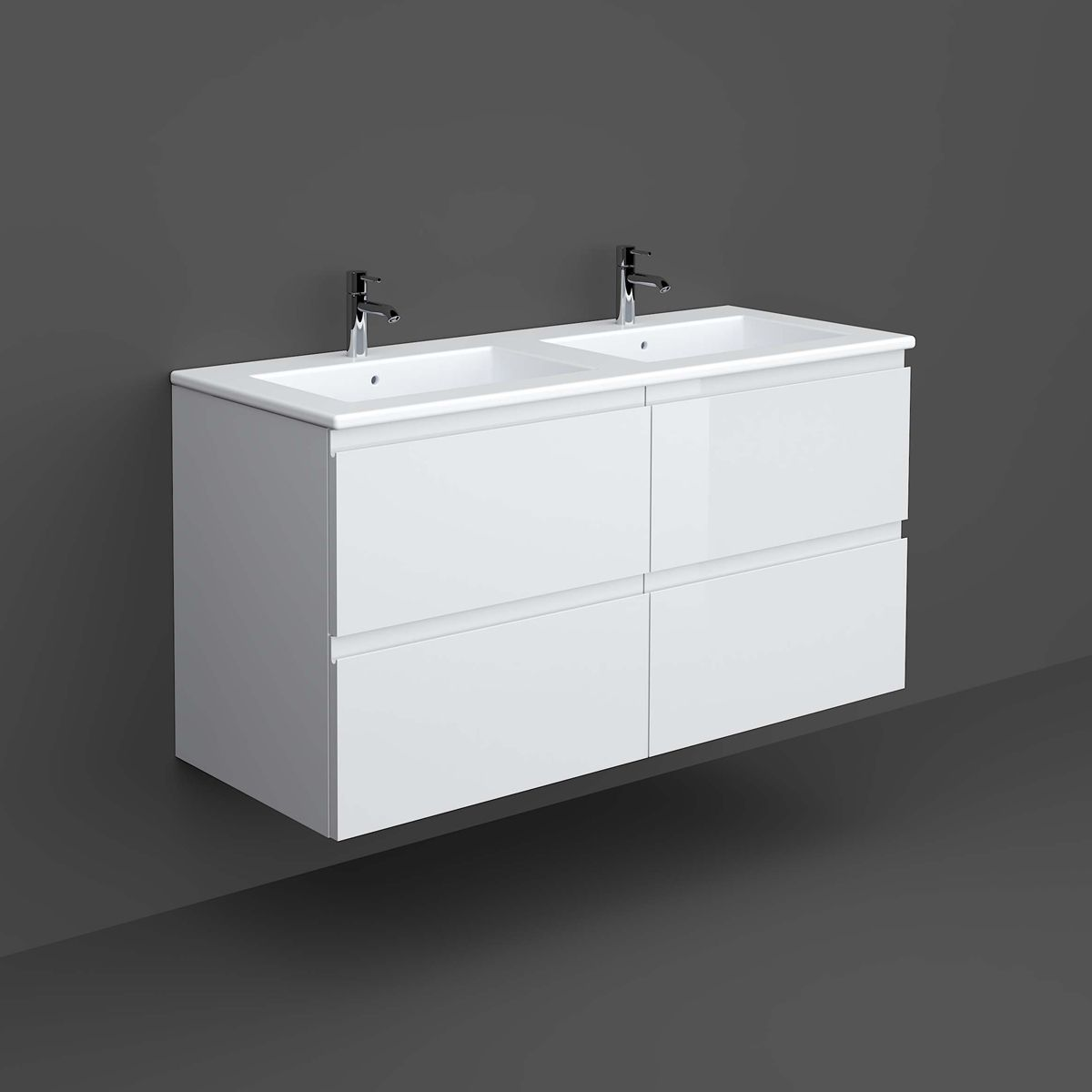 Rak Joy Pure White Wall Hung Vanity Unit 1200mm