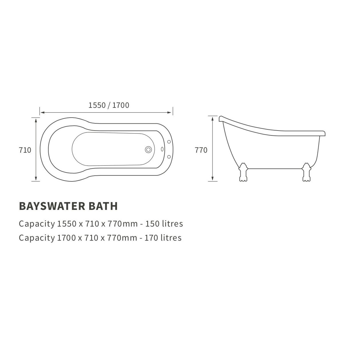 Moods Sherbourne Bayswater Freestanding Bath Dimensions