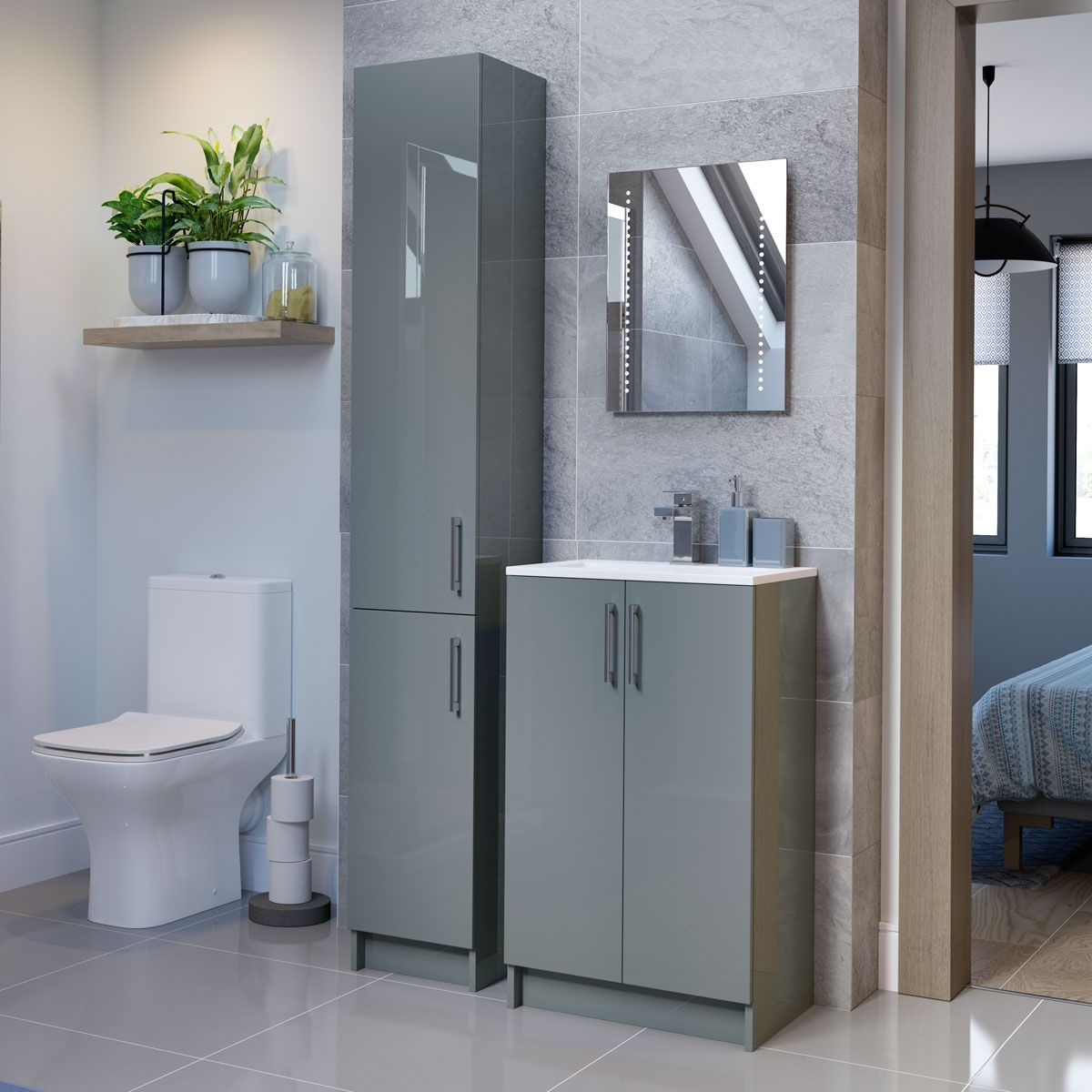 Moods Volta Grey Gloss Floor Standing Tall Unit 10mm