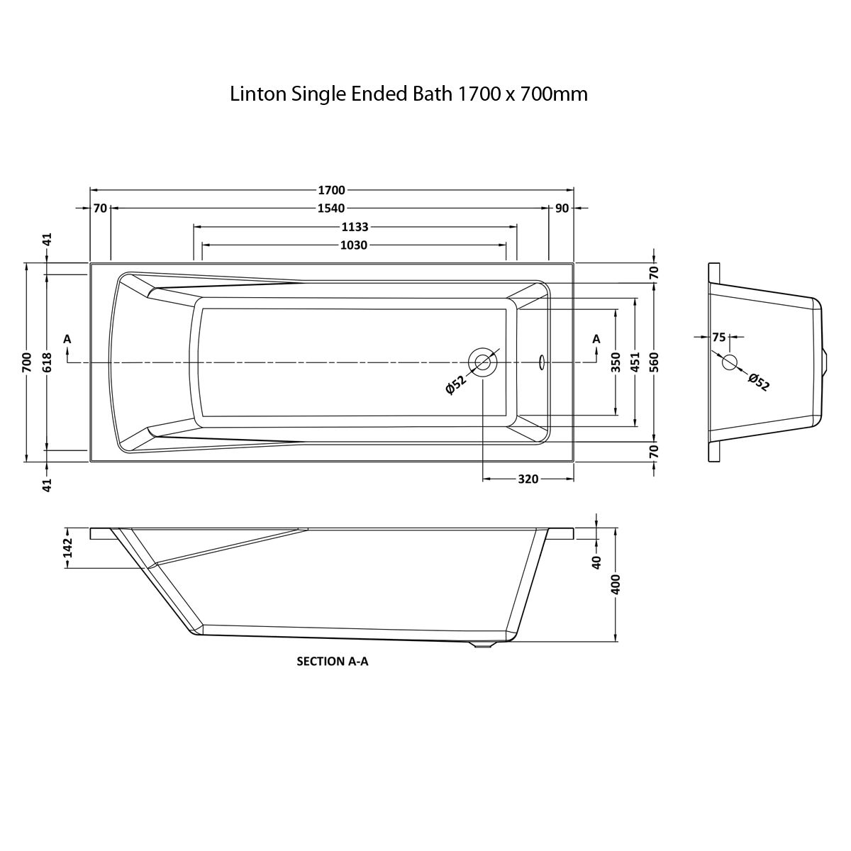 Premier Linton Single Ended Bath 1700 x 700mm
