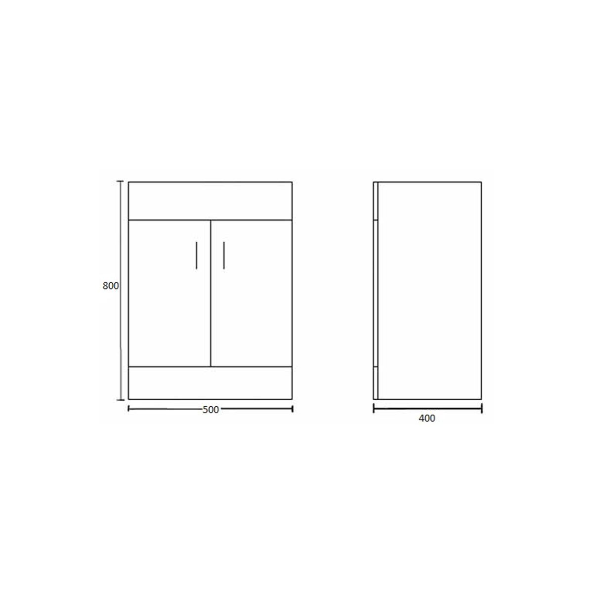 Nuie Eden Gloss White Floor Standing Vanity Unit 500mm Drawing