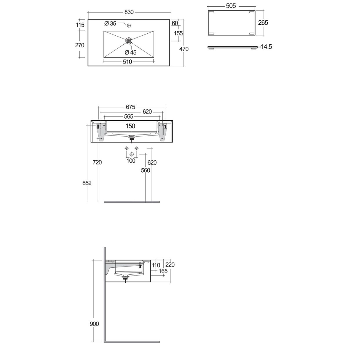 RAK Precious Behind Grey Wall Hung Counter Basin 800mm with Brackets Measurements