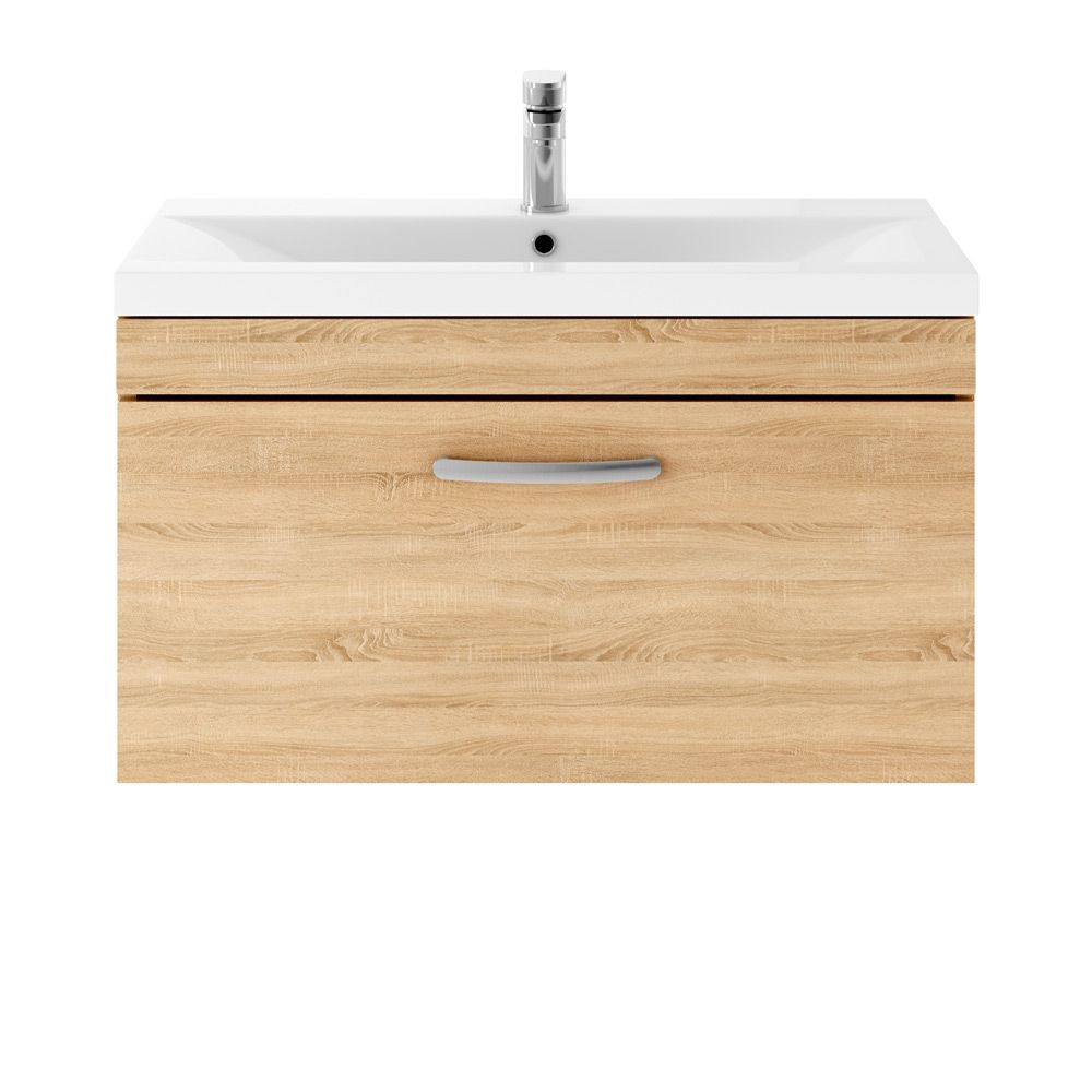 Premier Athena Natural Oak 1 Drawer Wall Hung Vanity Unit 800mm with Mid Edge Basin