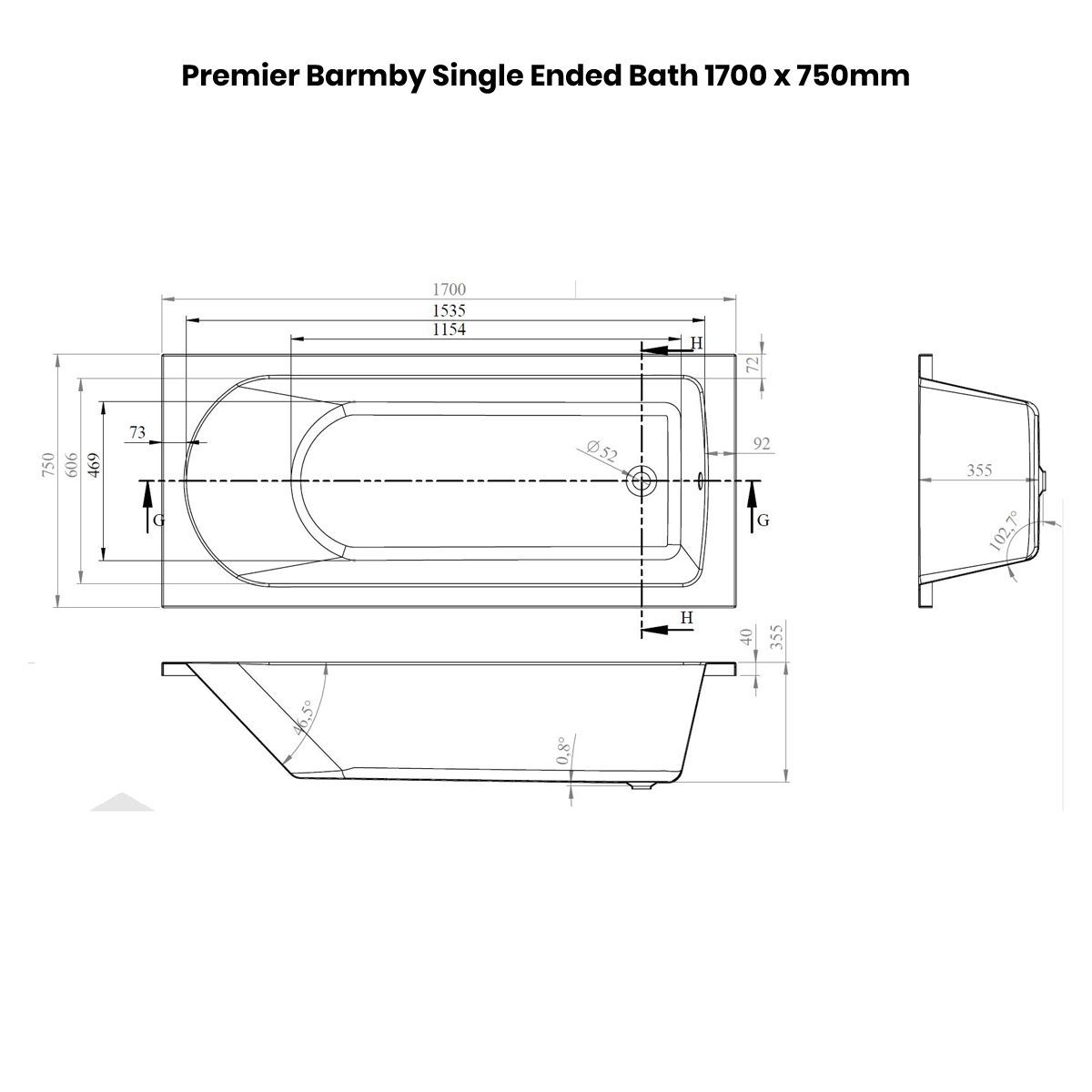 Premier Barmby Single Ended Bath 1700 x 750mm Dimensions