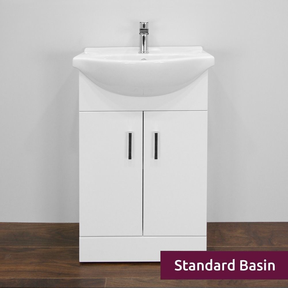 Premier High Gloss White Vanity Unit 550mm with Standard Basin Front