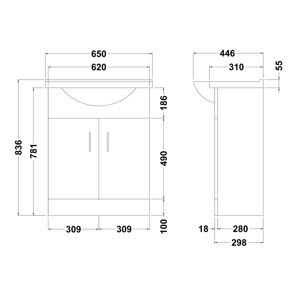 Premier High Gloss White Vanity Unit 650mm Dimensions
