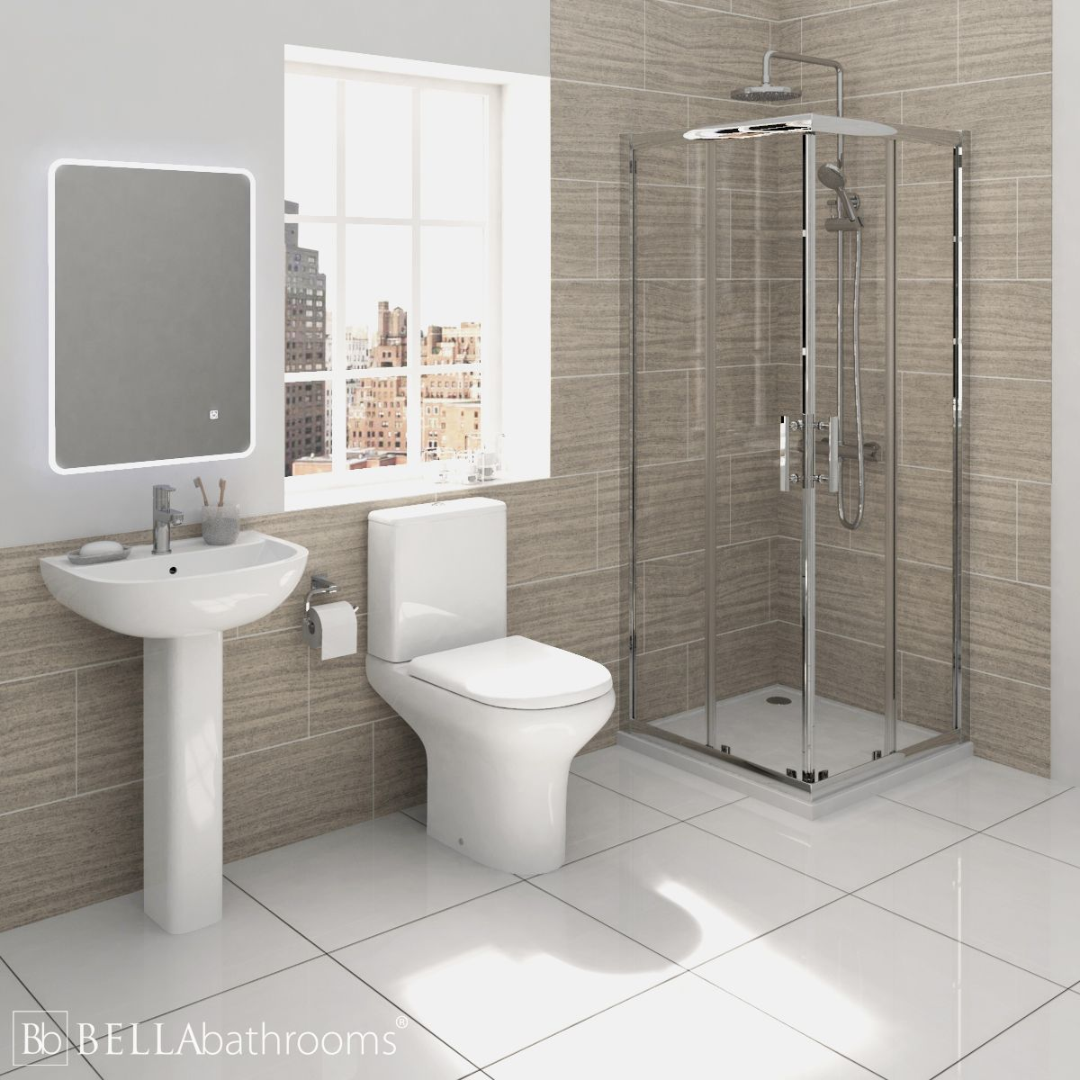 RAK Compact Shower Suite with Pacific Corner Entry Shower Enclosure