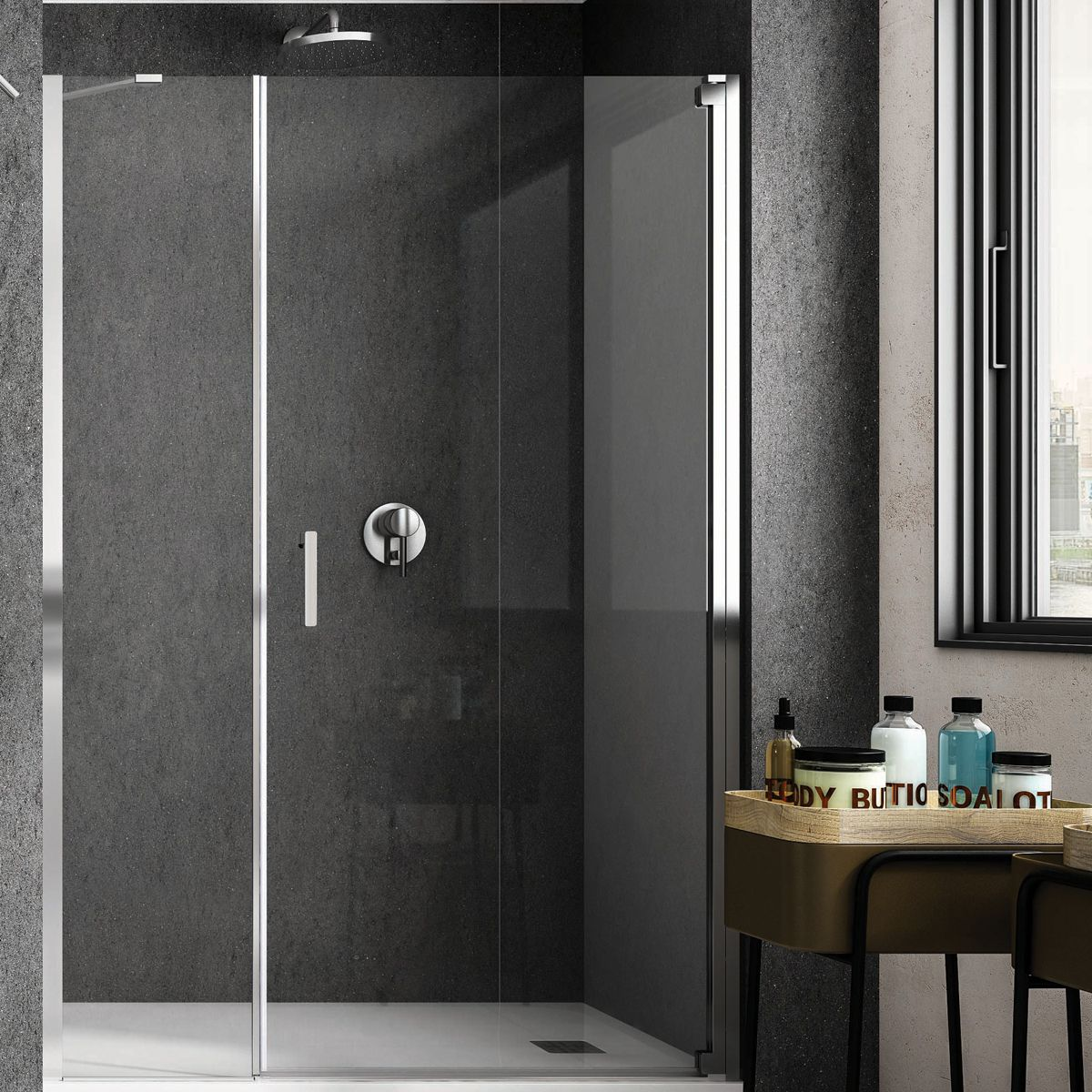 RAK Feeling Grey Wet Room Shower Enclosure with Optional Side Panel