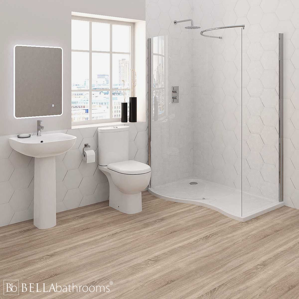 RAK Tonique Bathroom Suite with Pacific Walk-In Shower Enclosure
