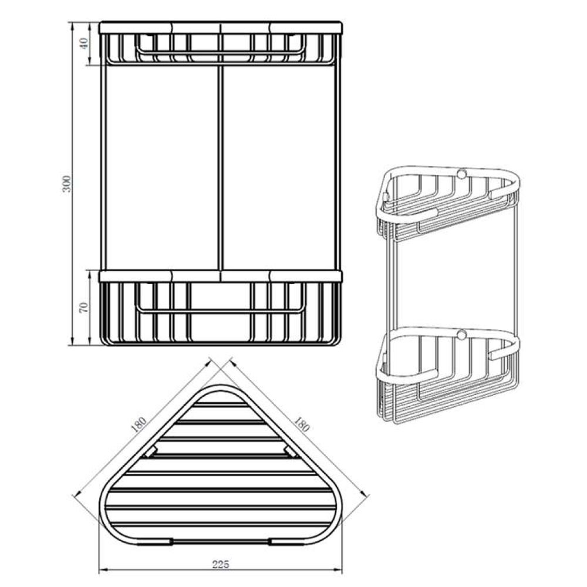 RAK Corner Double Soap Basket Measurements
