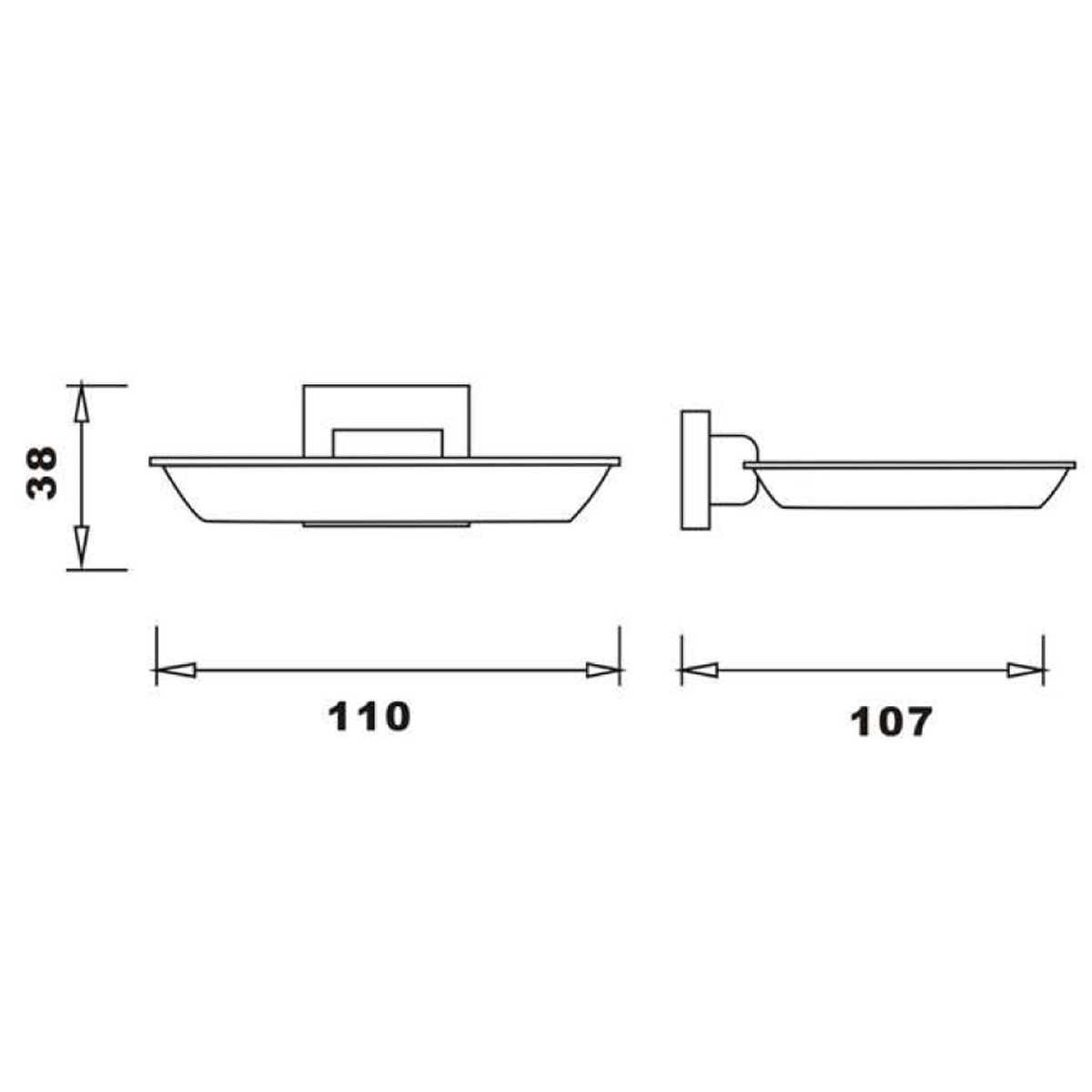 RAK Cubis Black Soap Dish Measurements