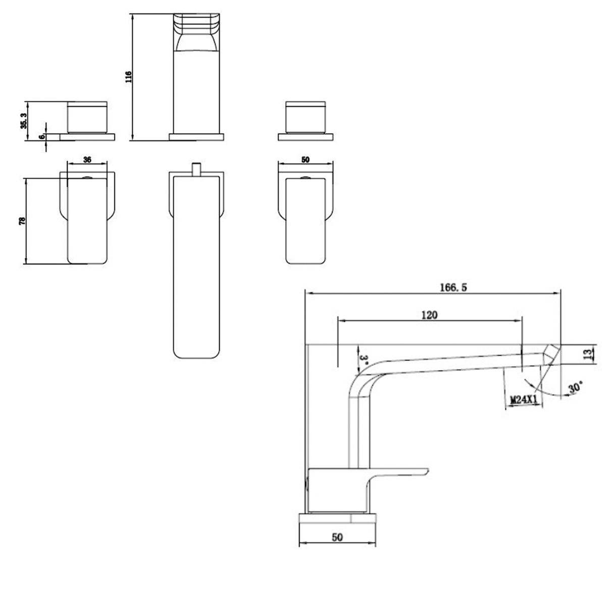 RAK Moon Deck Mounted 3 Hole Bath Filler Tap Measurements