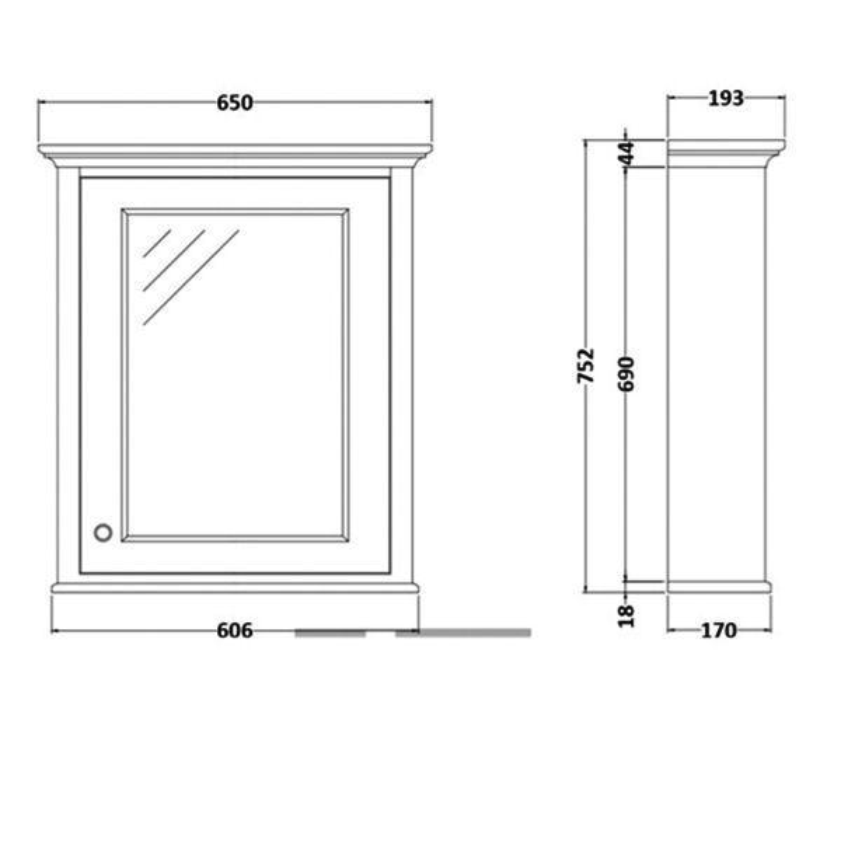 RAK Washington Grey Bathroom Mirror Cabinet 650mm Measurements